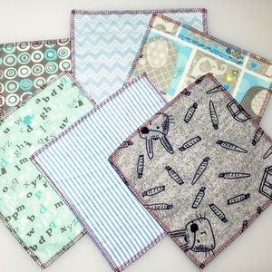 Grateful Casa Accessories - 10 reusable CLOTH WIPES mixed blues